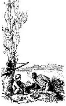Приключения Гекльберри Финна ГЛАВА IXМне захотелось еще раз пойти взглянуть на одно место, которое я приметил посредине острова, когда его осматривал; вот мы с Джимом и отправились и скоро туда добрались, потому что остров был всего в три мили длиной и в четверть мили шириной. Это был довольно длинный и крутой холм, или горка, футов в сорок высотой. Мы еле-еле вскарабкались на вершину - такие там были крутые склоны и непролазные кустарники. Мы исходили и излазили все кругом и в конце концов нашли...Что?